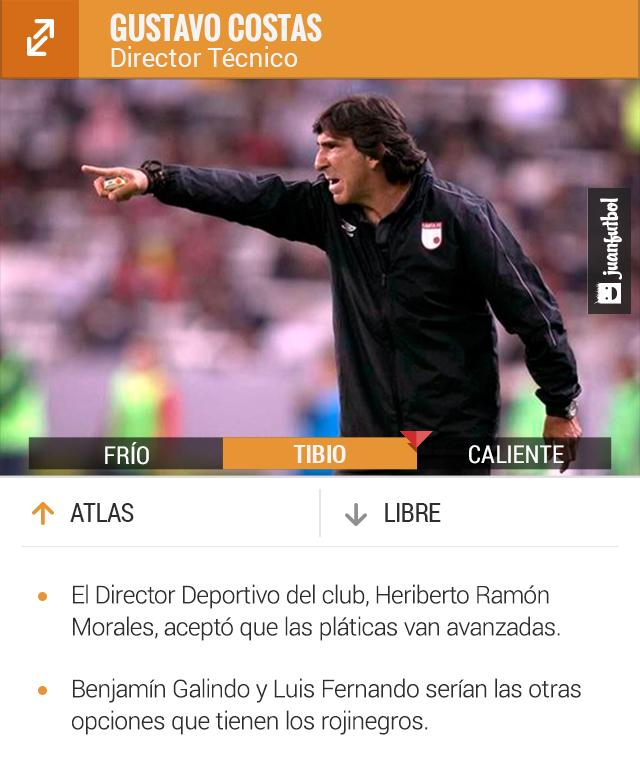 Gustavo Costas sería el próximo entrenador del Atlas. El martes lo presentarían