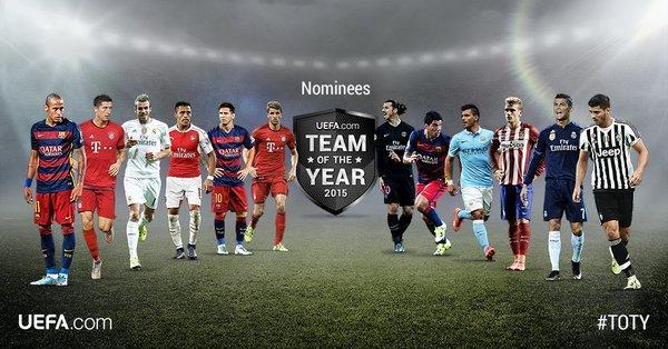 La UEFA da a conocer a los 40 nominados a Equipo del Año 2015