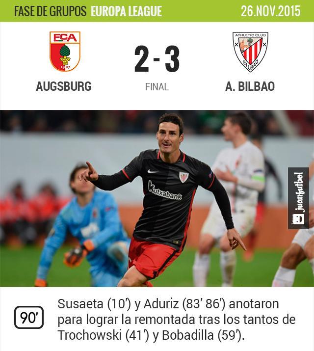 Athletic Bilbao logra remontada ante el Augsburg
