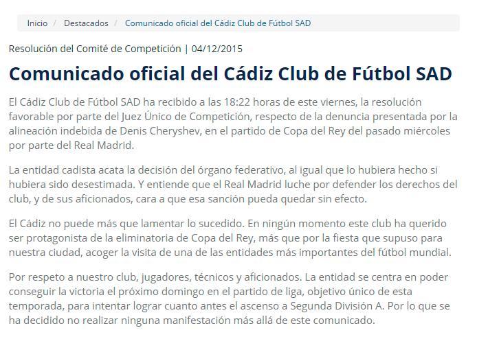 Comunicado del Cádiz a propósito de la eliminación del Real Madrid de la Copa del Rey