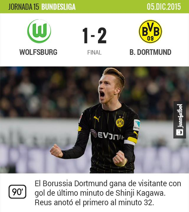 Reus y Kagawa anotan para el Borussia Dortmund