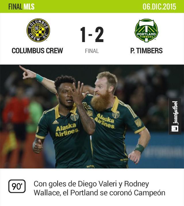 Con goles del argentino Diego Valeri y el costarricense Rodney Wallace, el Portland Timbers se coronó campeón del campeonato de fútbol estadounidense 2015 al vencer este domingo a domicilio por 2-1 al Columbus Crew.