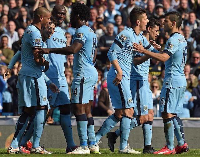 Manchester City durante un partido de la Premier League