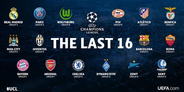 Los equipos clasificados a los Octavos de Final de la Champions League
