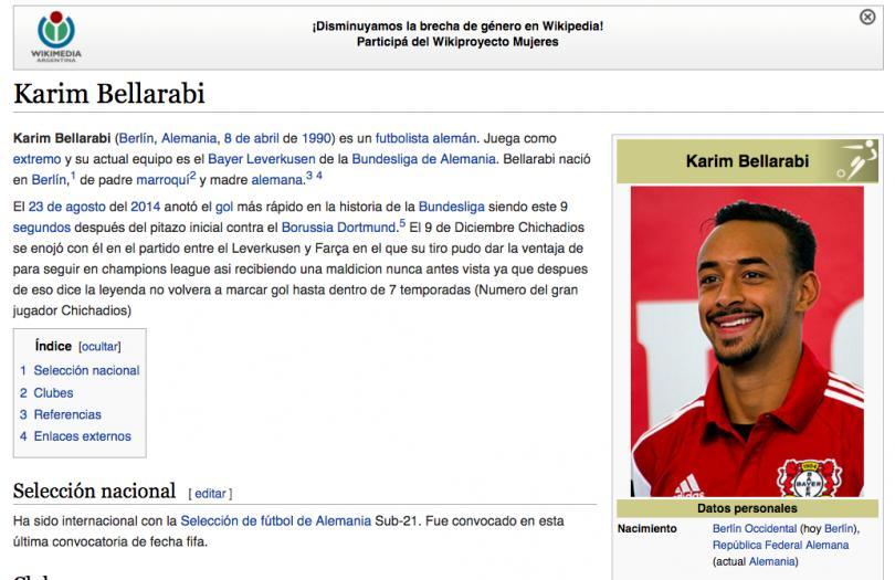 Trollean página de Wikipedia de Karim Bellarabi