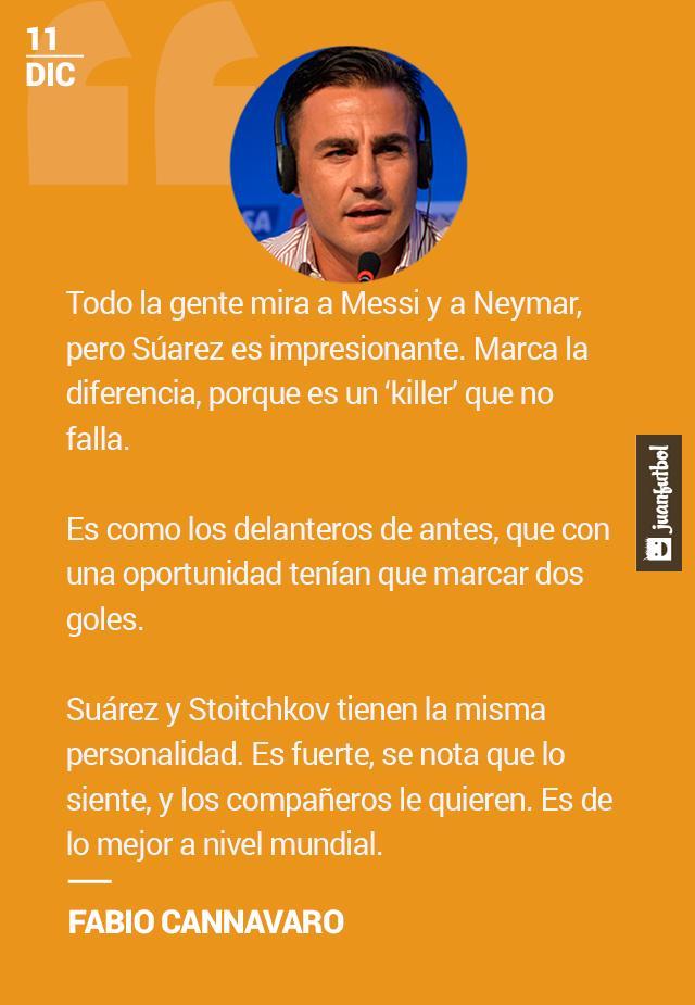 Cannavaro se rinde a Luis Suárez.