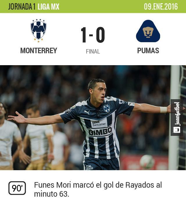 Funes Mori marcó el gol del triunfo para Rayados