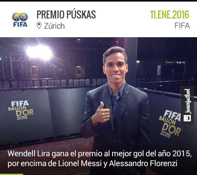 Wendell Lira gana el premio a mejor gol del 2015