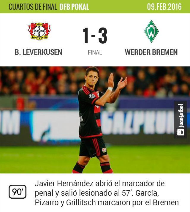 Bayer Leverkusen cae 1-3 ante el Werder Bremen y quedan eliminados de la Pokal