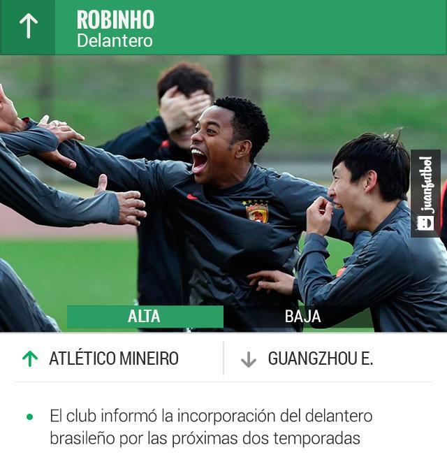 Robinho llega al Atlético Mineiro después de su paso por el futbol chino