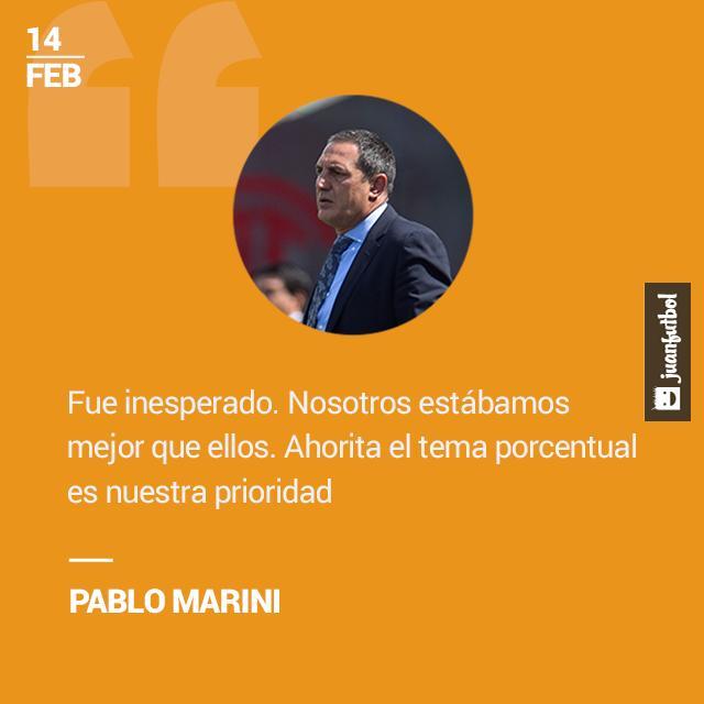 Pablo Marini está preocupado por la porcentual