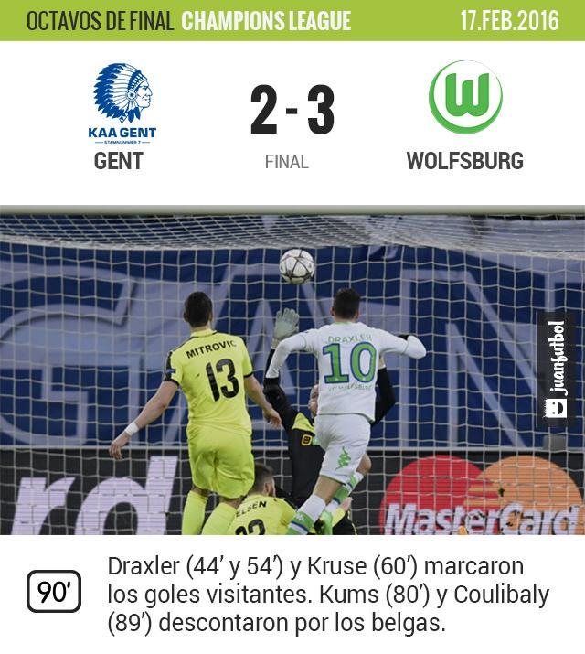 Wolfsburgo sacó un triunfo vital en su visita al Gent