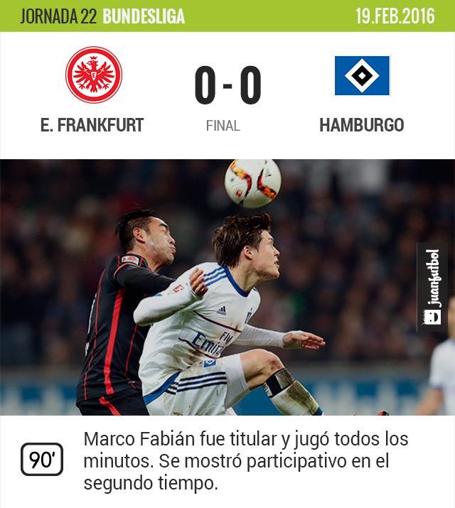Fabián y el E. Frankfurt poco pueden hacer ante Hamburgo.