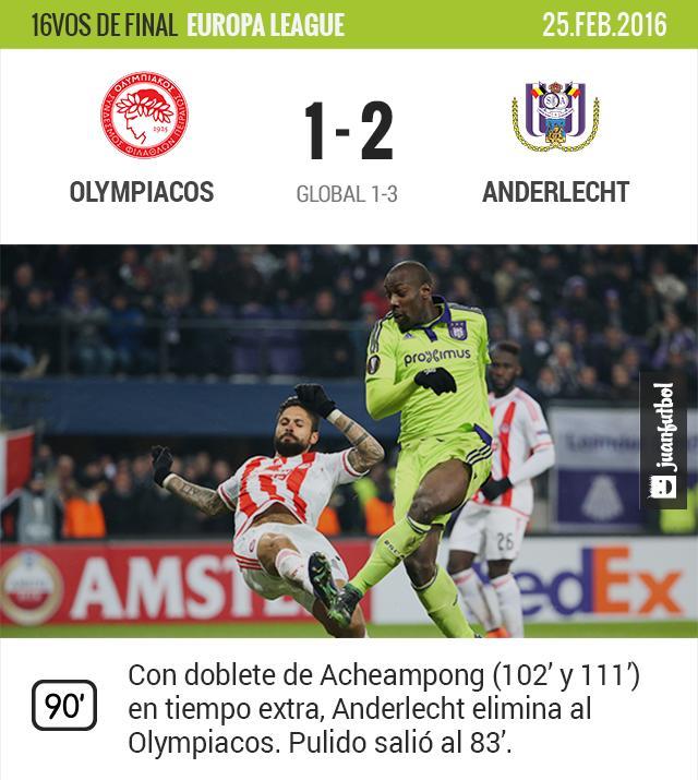 Olympiacos es eliminado de la europa league