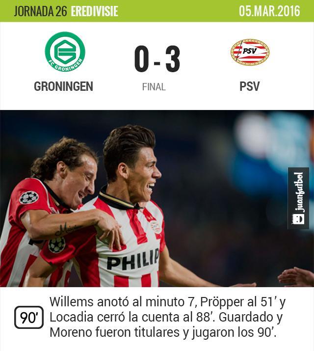 El PSV de Guardado y Moreno vence al Groningen de visita y sigue de líder.