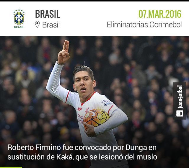 Roberto Firmino irá a la Selección de Brasil en sustitución de Kaká