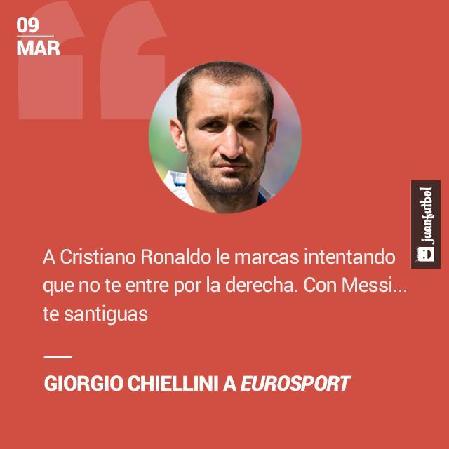 Giorgio Chiellini enfrentó a Cristiano en las semifinales de la Champions pasada y a Messi en la final.