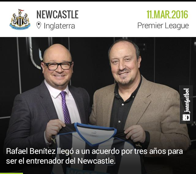 Newcastle llega a un acuerdo con Rafa Benítez para ser tres años entrenador del club.