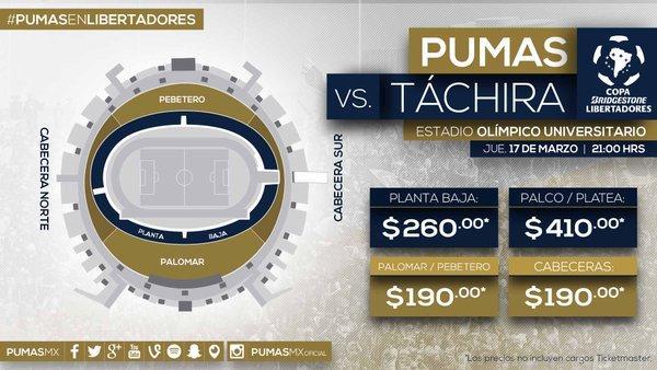 Pumas da a conocer los precios para recibir a Táchira.