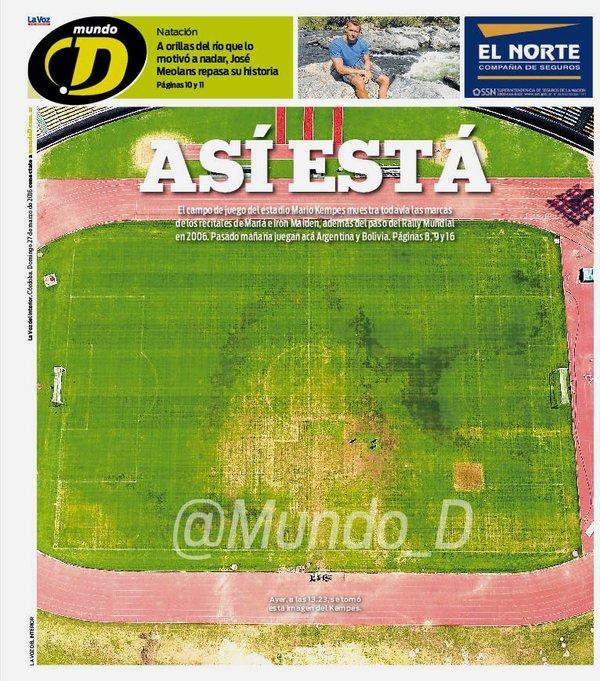 Revelan pésimas condiciones de la cancha donde se jugará el Argentina - Bolivia