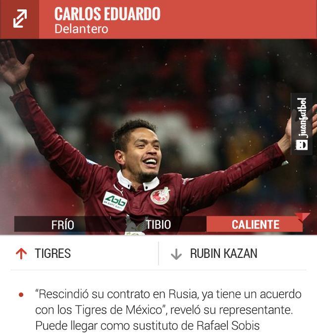 Carlos Eduardo llegará a Tigres para el Apertura 2016.
