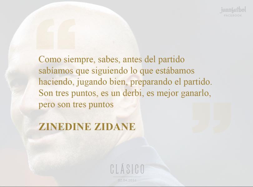 Zinedine Zidane se lo tomó con calma.