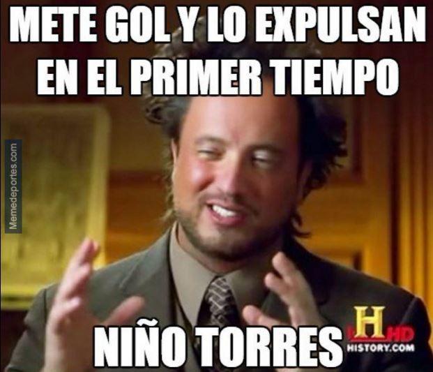 Niño Torres fue expulsado cuando el Atleti ganaba 1-0