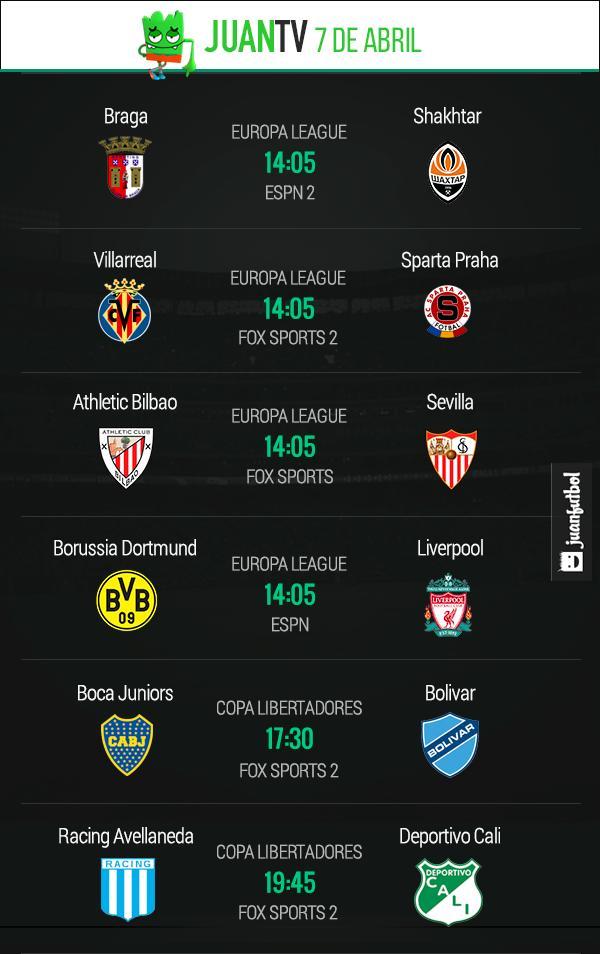 JuanTv 7 de abril de 2016. Juegazos de  Europa League y Libertadores