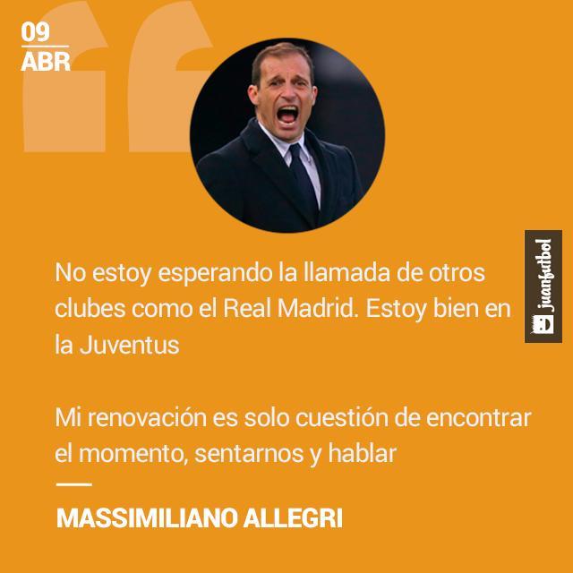 No estoy esperando la llamada de otros clubes como el Real Madrid. Estoy bien en la Juventus¿Mi renovación? Es solo cuestión de encontrar el momento, sentarnos y hablar, reconoció Allegri.