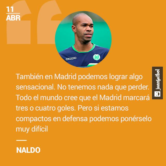 Naldo, defensa del Wolfsburg, confía en que complicarán al Real Madrid en la Champions.