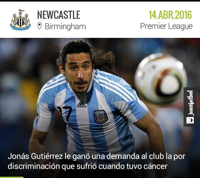 Jonás Gutiérrez se quejó por el mal trato del Newcastle cuando tuvo cáncer.