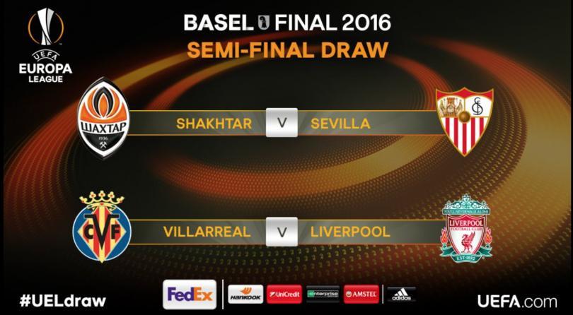 Listos los duelos de semifinales para la Europa League. Shakhtar vs Sevilla y Villarreal vs Liverpool