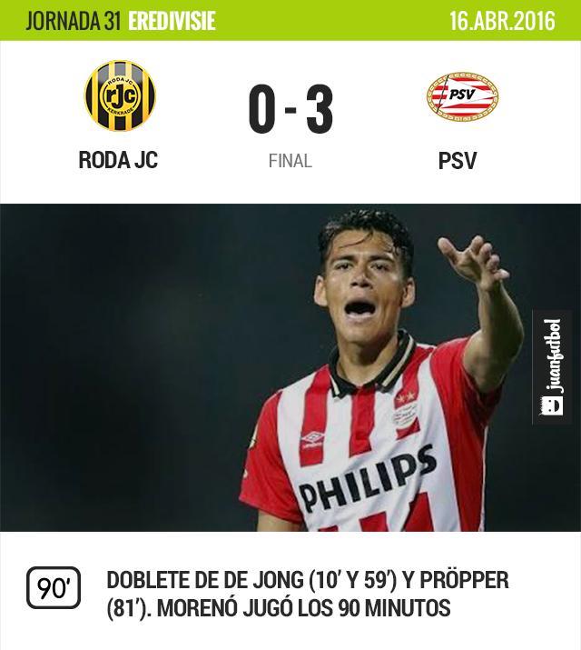 Moreno jugó los 90 minutos de la victoria del PSV