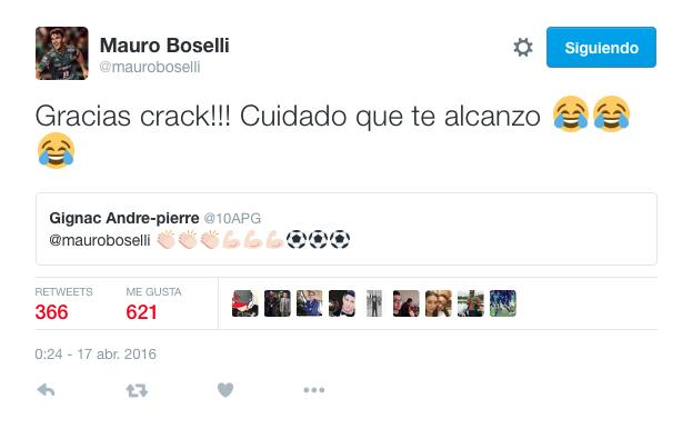 Mauro Boselli y Gignac se dedicaron elogios y bromas en Twitter.