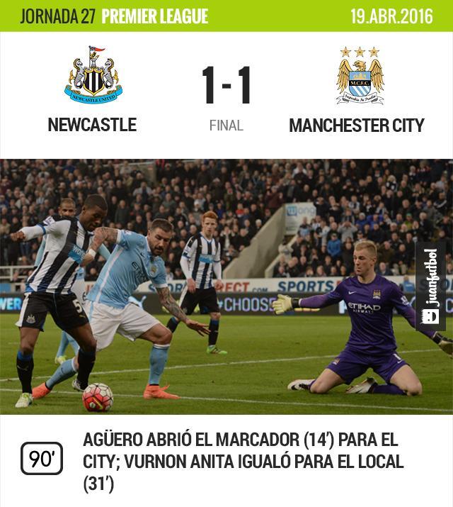 Manchester City saca el empate 1-1 frente al Newcastle.
