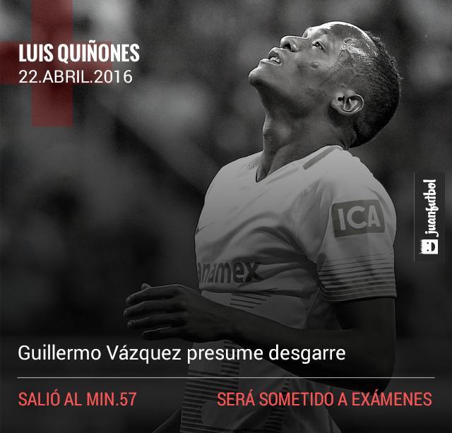 Luis Quiñones es duda para el partido contra el Táchira por la Copa Libertadores.