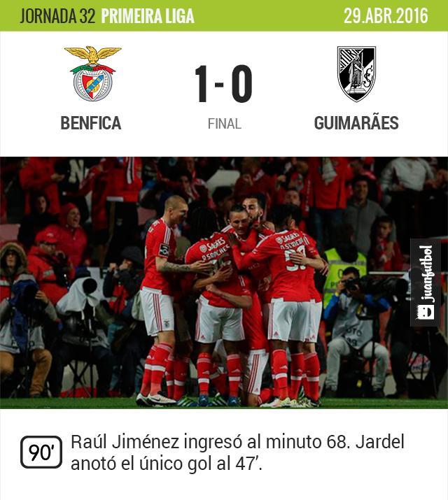 Benfica vence al Guimaraes y sigue en la punta de la liga de Portugal.