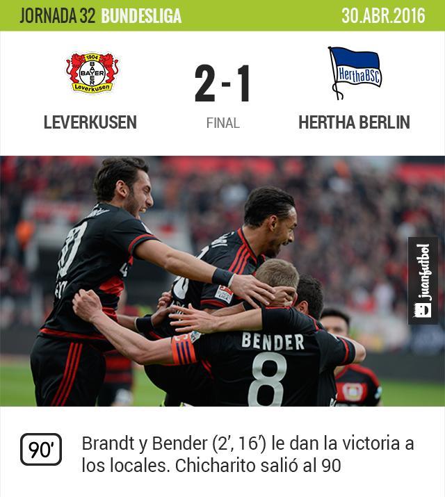 Leverkusen ganó 2-1 al Hertha. Chicharito salió al final del juego