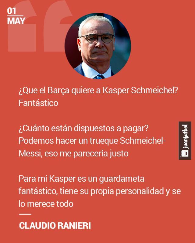 Ranieri ironiza con la partida de Schmeichel al Barcelona.