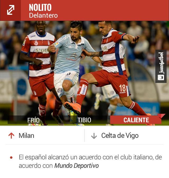Nolito era pretendido por el Barcelona; la próxima temporada jugará en Milan.