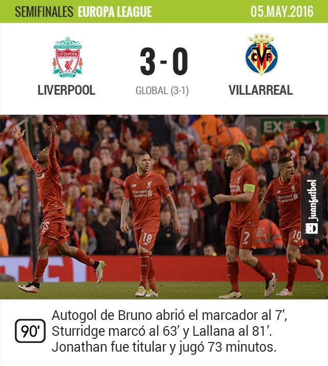 Liverpool elimina al Villarreal de Jonathan a un paso de la final