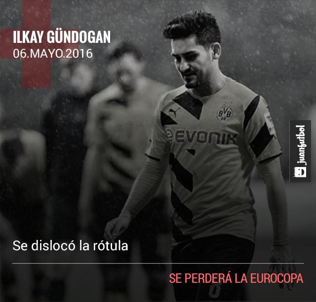 Gündogan queda fuera de la Eurocopa por una lesión de rodilla.