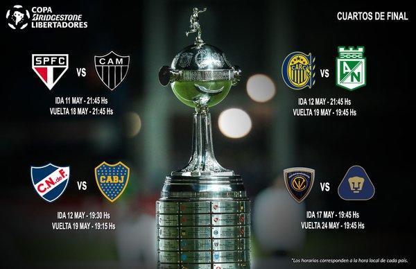Horarios de los cuartos de final de la Copa Libertadores de América.