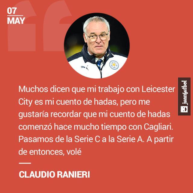 Ranieri recuerda que su primer cuento de hadas fue ascender al Cagliari de la Serie C a la Serie A.