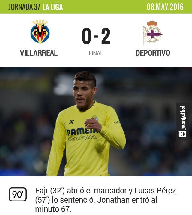 Jona y el Villarreal caen en casa frente al Deportivo que se salva del descenso.
