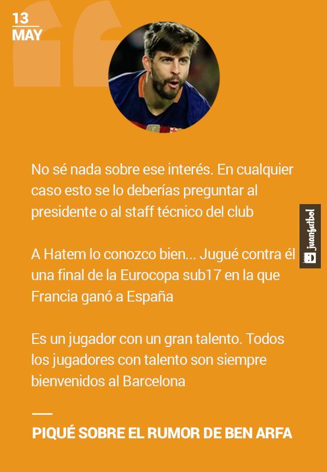 Piqué habla sobre el supuesto interés del Barcelona en Hatem Ben Arfa.