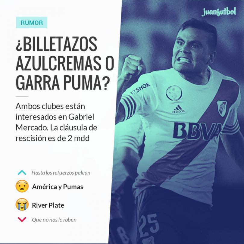 Gabriel Mercado es pretendido por América y Pumas