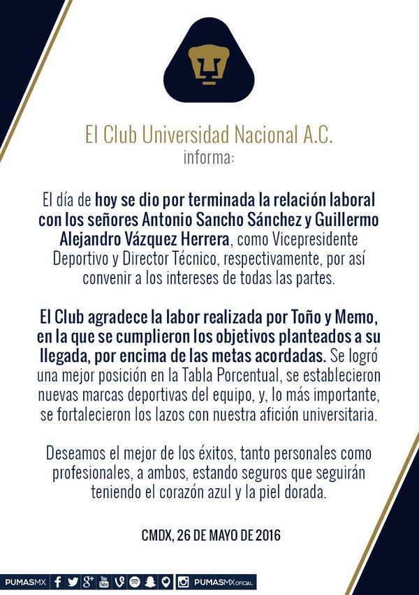 Pumas anuncia la salida de Memo Vázquez de su dirección técnica.