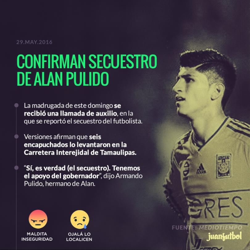 Alan Pulido fue secuestrado, su hermano Armando lo confirmó.