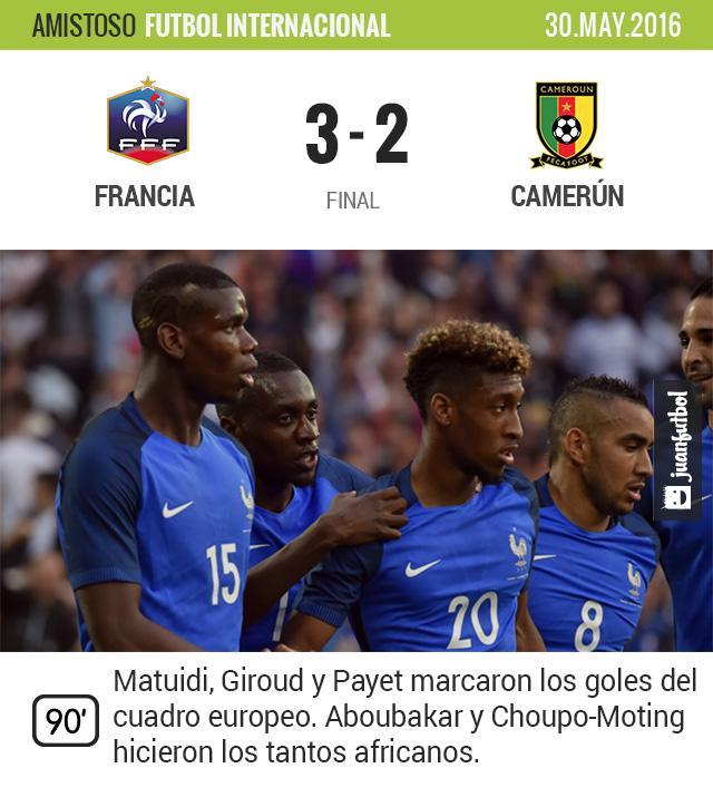 Francia venció a Camerún en duelo de preparación para la Euro 2016